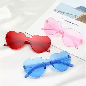 Rimless Acrylic Heart Shaped Sunglasses